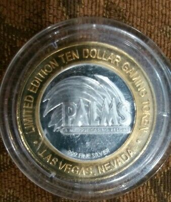 Limited Edition Ten Dollar $10  PALMS GHOSTBAR.999 Pure Silver Gaming Token