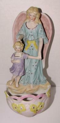 Antique German Bisque Guardian Angel Holy Water Font with Art Nouveau influence