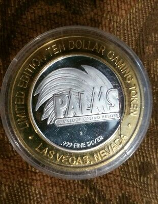 Limited Edition Ten Dollar $10 PALMS 9 STEAK.HOUSE 999 Pure Silver Gaming Token