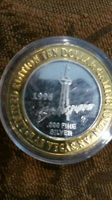 Limited Edition Ten Dollar $10  STRATOSPHERE  .999  Silver Gaming Token
