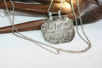 """Antique Islamic Arabic Afghan Tribal Amulet Silver Necklace 55CM 22"""" Rolo Chain"""