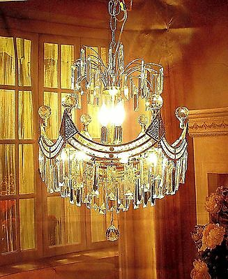 Antique Vintage Chandelier Crystal Tiered Fixture Lamp Pendant Light Modern