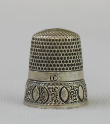 Antique Simons Bros Size 10 Sterling Silver Thimble