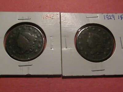 Vintage 1825 & 1829 Coronet Head Large Cents Up For Auction  (You Grade)