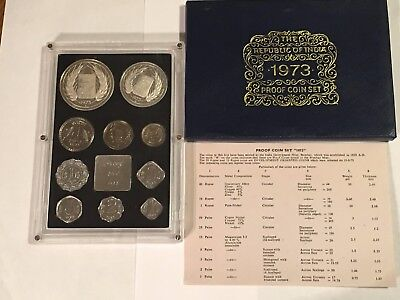 1973 India Proof Coin Set - 10 Brilliant Uncirculated Gems - Original Packaging
