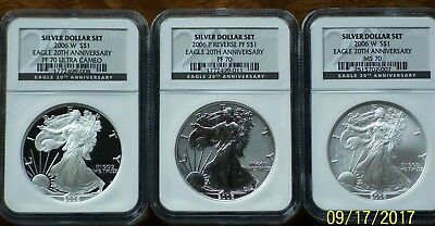 2006 SILVER AMERICAN EAGLE 20th ANNIVERSARY SET , NO RESERVE ,FREE SHIPPING !