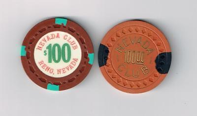2 Vintage $100 Chips From The Nevada Club Casino In Reno Nevada