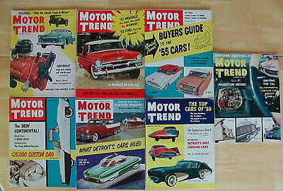 """Lot of 7 Vintage1955 Issues MOTOR TREND Magazines """"the car owners magazine"""""""