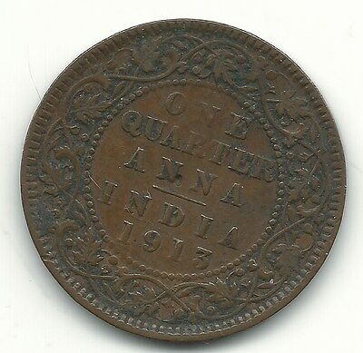 Very Nice Vintage 1913 One Quarter Anna Coin-Apr450