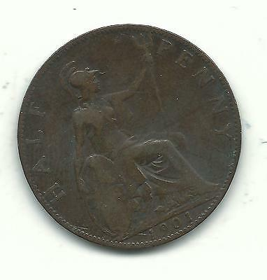 Very Nice Vintage 1901 Great Britain English Half Penny-Oct051