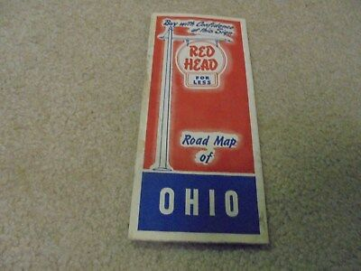 Vintage 1950's Red Head Oil Gas Company Ohio Road Map