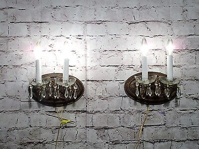 Antique Vintage Pair Sconces Oval 2 Light Floral Crystal Bobeches  WALL LAMP