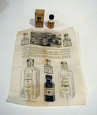 Vintage Half Full Bottle W.F. Nye Clock Oil Original Box & Ad for Other Products