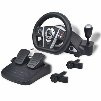 vidaXL Lenkrad Gas Bremspedale Steering Wheel Feedback Vibration für PS2/PS3/PC