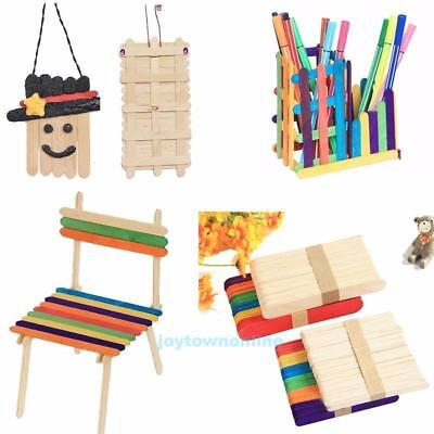 50Pcs Colorful Wooden Popsicle Stick Kids Ice Cream Lolly DIY Making Funny Party