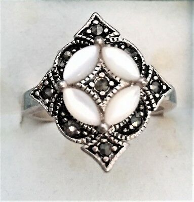 Gorgeous Vintage Solid Silver Marcasite Mother Of Pearl Ring