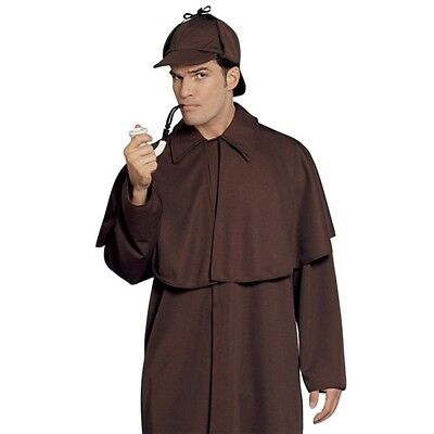 Mens Sherlock Holmes Detective Costume Police Crime Fighter Party Outfit & Hat H
