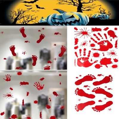 Halloween effrayant Bloody Main Feet Print Window Clings Porte Cover Party Decor