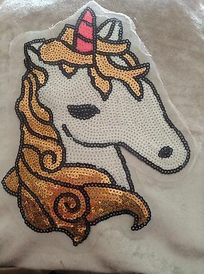 Extra Large Sew On Unicorn Patch Sequin Appliqué Motif Sparkling Pretty Girly Uk