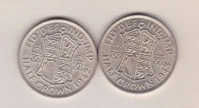 1942 & 1945 George Vi 50% Silver Half Crowns In Near Extremely Fine Condition