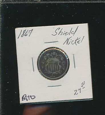 Shield Nickel - 1867 - #r10 - Way Below Bid !