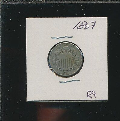 Shield Nickel - 1867 - #r9 - Way Below Bid !