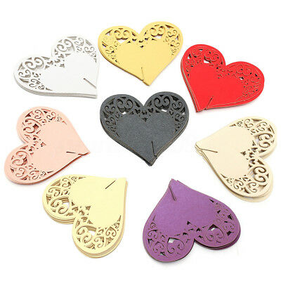 10pcs Love Heart Laser Cut Wedding Party Table Name Mark Glass Place Cards Decor
