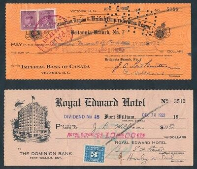 Canada: 1945-1952 Set of 3 different cheques, all with affixed Duty Stamps