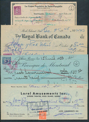Canada - Quebec: 1933-1952 COLLECTION of 4 different cheques, some SCARCER BANKS