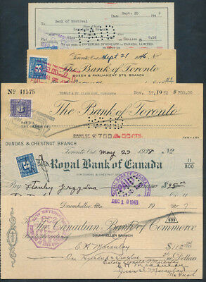 Canada: 1938-1952 Set of 5 different cheques, mostly with affixed Duty Stamps