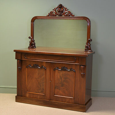 Splendid Figured Mahogany Victorian Antique Mirrored Back Antique Chiffonier