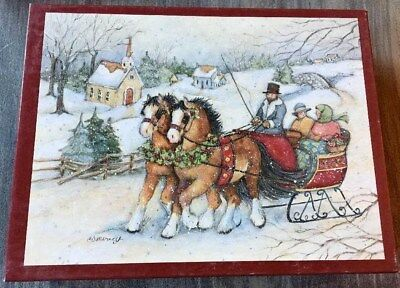 Lang Discontinued Design Horse & Sleigh Boxed Christmas Greeting Cards & Seals