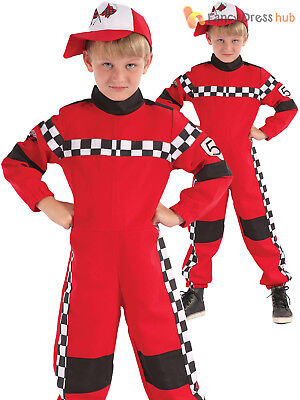 Boys Racer Driver Costume Child Red Formula 1 Racing Overalls Fancy Dress Outfit