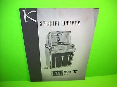 AMI Model K Original 1959 Jukebox Phonograph Music Sales Flyer Spec Sheet RARE