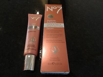 No7 Restore and Renew Face & Neck MULTI ACTION Serum - 30ml BNIB