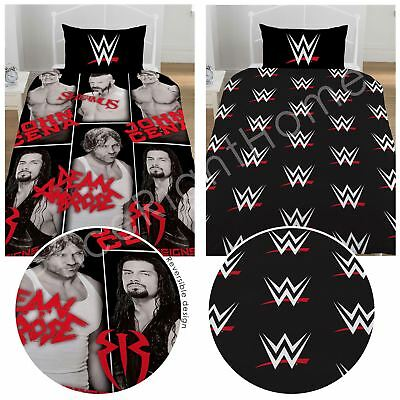Wwe Stars Single Duvet Cover Set Black Wrestling Logo - 2 In 1 Design