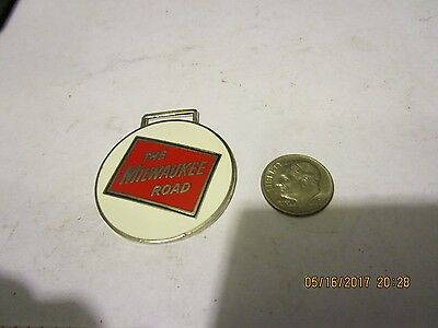 VINTAGE NEW OLD STOCK THE MILWAUKEE ROAD ENAMEL WATCH FOB circle railroad train
