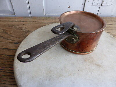 Antique French small copper original tinned saucepan with lid
