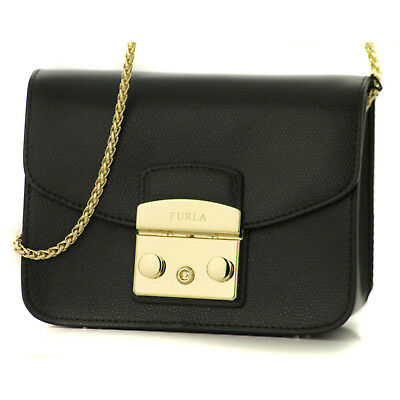 f89b7d235b678 Woman Furla Metropolis Shoulder Mini Bag CrossBody Black 820676 Evening  Purse