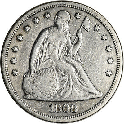 1868 US Seated Liberty Silver Dollar $1 - XF Details
