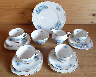 15 Pieces Vintage Colclough Blue Cornflower Love in The Mist Part Tea Set/Trios