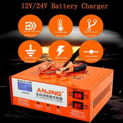 12V/24V Car Battery Charger Automatic Intelligent Pulse Repair Type LED Display
