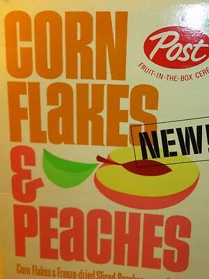 """1960's Vintage New! CORNFLAKES AND PEACHES Post Fun Graphics & Color 9"""" tall"""