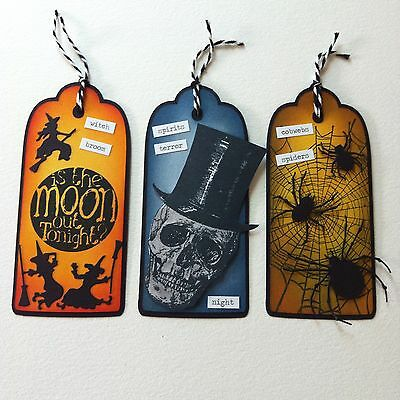 3 X Large Handmade Tag Toppers-Cardmaking-Halloween Witch Spider Web Skull