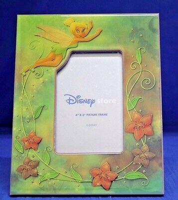 Tinker Bell Flying Green Border with Flowers Picture Frame Disney Store