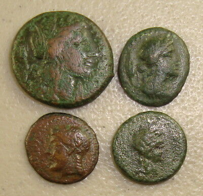 Lot of (4) Fully Described 287-200 BC Sicily Ancient Greek Bronzes F