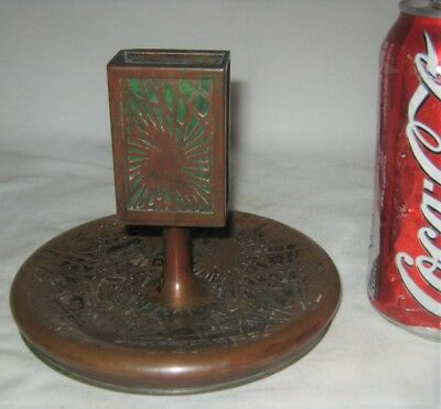 Antique Tiffany Studios Bronze Favrile Art Glass Cigarette Ashtray Match Holder