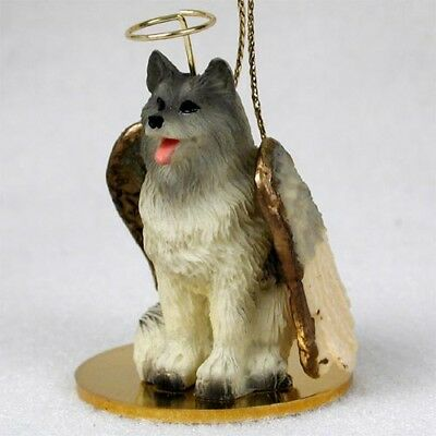 Keeshond Dog ANGEL Tiny One Ornament Figurine Statue