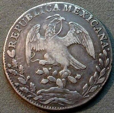 Mexico-First Republic 1841 Mo,ML Silver 8 Reales KM377.1