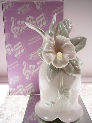 SAN FRANCISCO Musical PORCELAIN BELL Hummingbird Hibisc * FREE USA SHIPPING